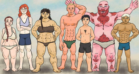 OC Body type comparison. by CotangentFish