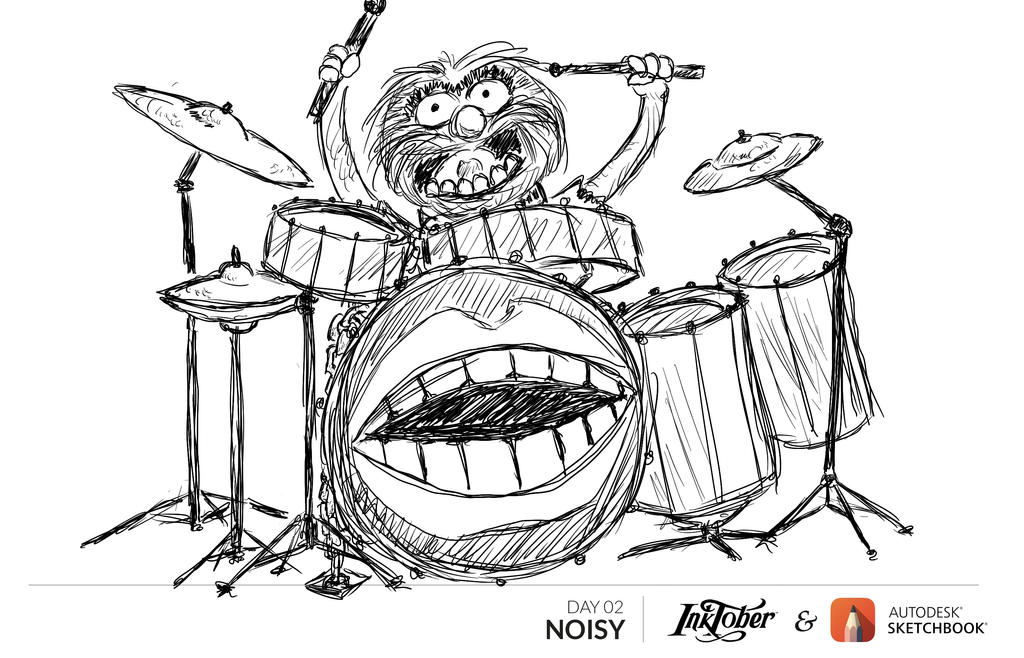 Inktober Day 2 - Noisy: BEAT DRUMS!!! by CotangentFish