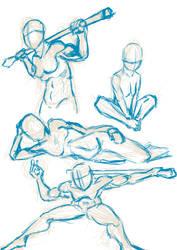 Quick gesture sketches by CotangentFish