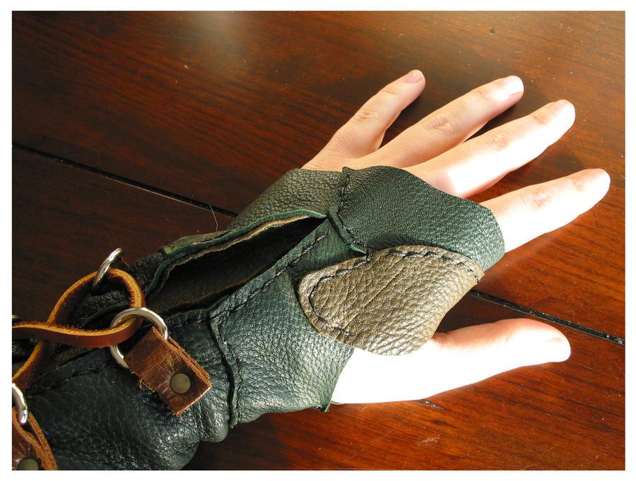 Leather Archery Glove - Hand Closeup by Demara
