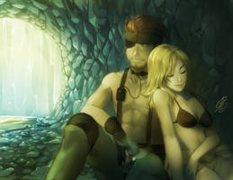 MGS3: Behind the waterfall by SaiyaGina