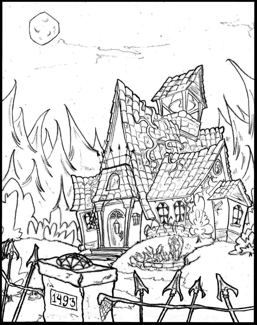 Haunted House Coloring Pages Printables Haunted House Coloring Pages