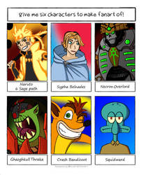 6 Character Fanart Challenge