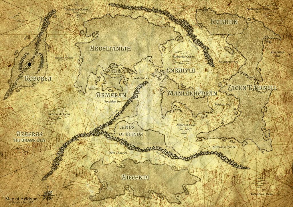 Aeldynn World Map (Old Nautical) by AeldynnLore