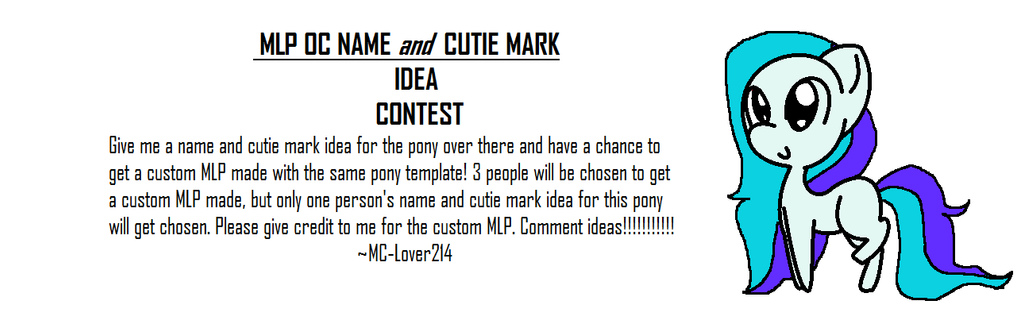 MLP OC NAME And CUTIE MARK IDEA CONTEST By MC Lover214 On