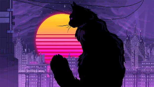 WIP Synthwave City, Gizille the Cat