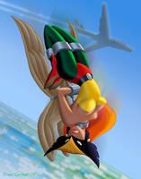 Hawkgirl in freefall by DrewGardner