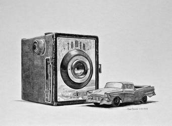 Camera And 1957 Ford Ranchero Graphite by Daniel-Storm