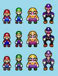Mario Bros And Wario Bros Color Palette Swaps