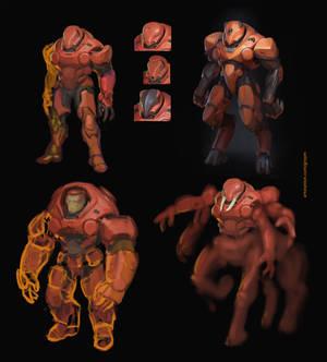 red alien power suit