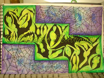 webs and bats colored by southtexasartdog