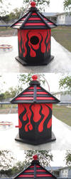 black and red birdhouse by southtexasartdog