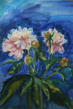Watercolor pions