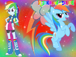 Rainbow Dash Pony and EG form Wallpaper by NatouMJSonic