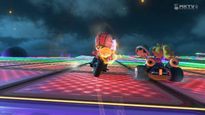 Peach and my Mii in SNES Rainbow Road by NatouMJSonic