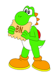 Yoshi eating a french cookie