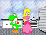 Peach and Yoshi in the kitchen