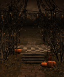 Gothic gazebo with orange lights and pumpkins