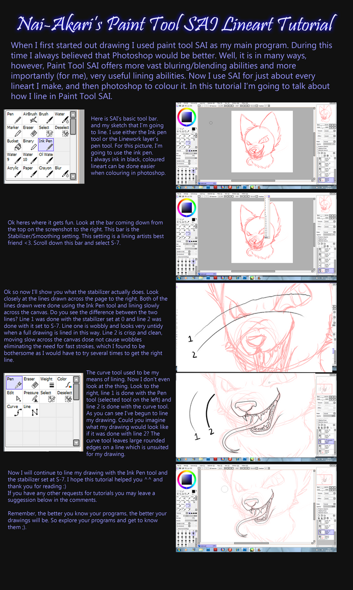 PaintTool SAI Lineart Tutorial by Nai-Alei