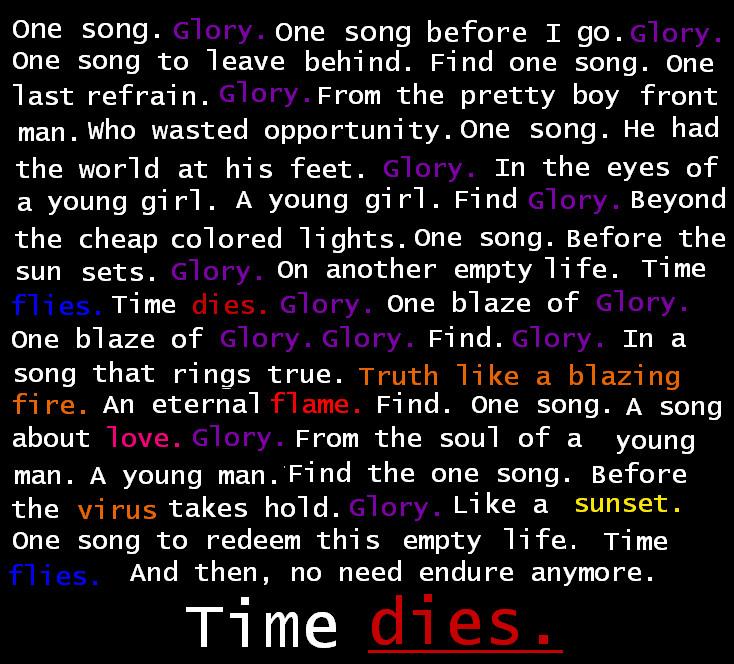 One Song...Glory by keptmystraightjacket on DeviantArt