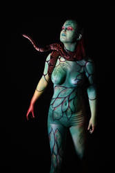 Snake bodypaint: up there!