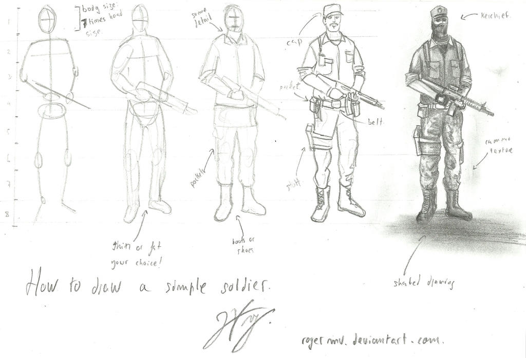 tutorial how to draw a simple soldier by rogermv