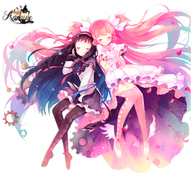 Render Madoka and Homura by Advaize