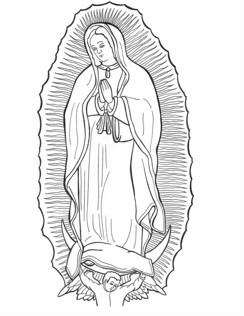 Line Drawing Lady : Our lady of guadalupe by horishi on deviantart