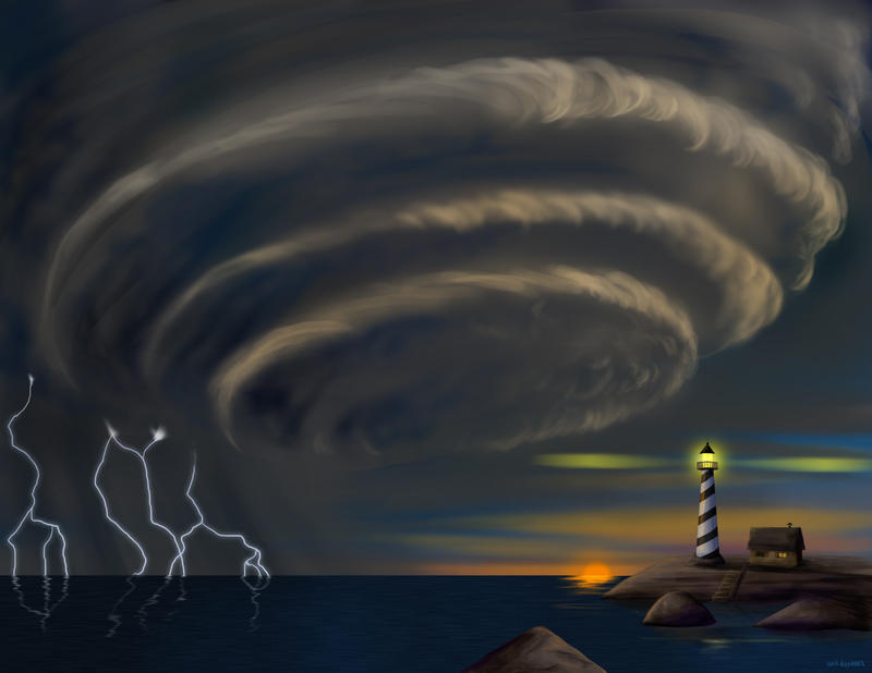 Storm on the Sea by hyenacub