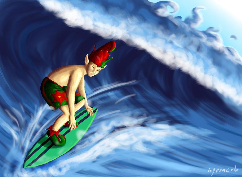 Surfer Elf by hyenacub