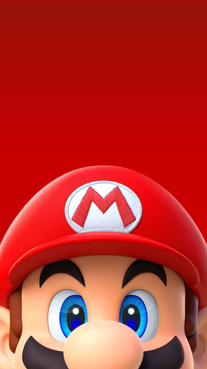 Super Mario Run smartphone wallpaper head only by