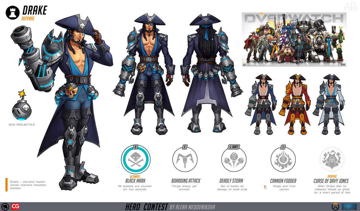 Character Design Competition 2018 : Drake for overwatch concept by anhel on deviantart