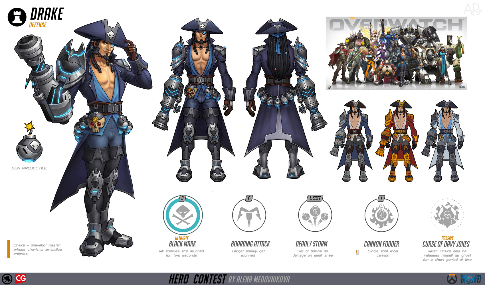 Overwatch Character Design Concept Art : Drake for overwatch concept by anhel on deviantart