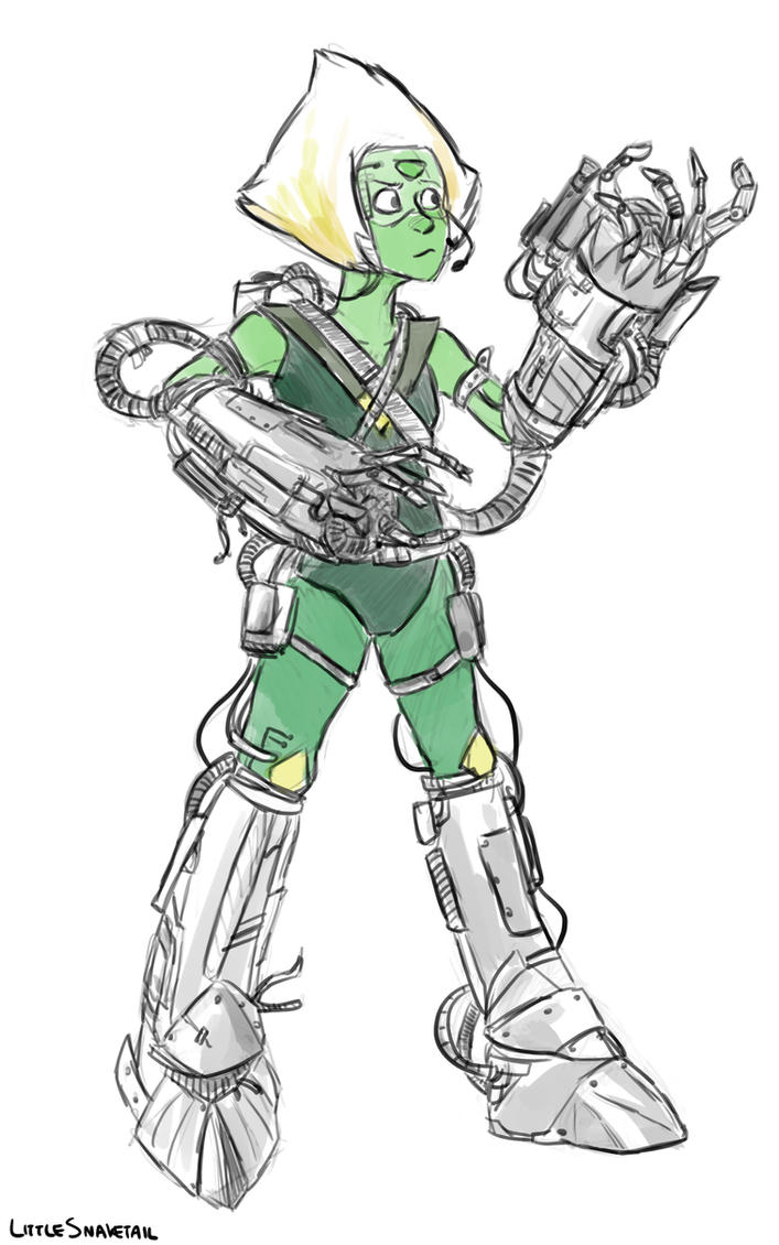 Commissioned by Fanfiction.net user Edgar H. Sutter/DeviantArt user  From Star Wars/Steven Universe crossover fanfiction Gem Wars Content shown: Peridot with new limb enhancers on her han...