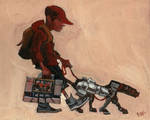 A boy, his dog, and his boombox by Bewheel