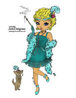 1920's Flapper (colored) by SkekMara