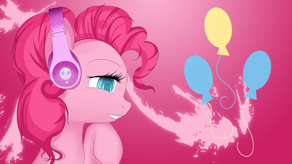 Pinkie Pie with headphones (splash) by AvareQ