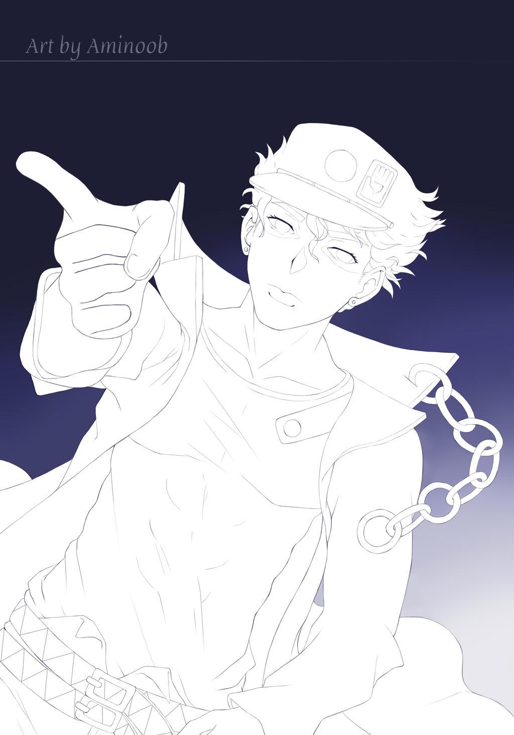 Jotaro - Line art by Aminoob