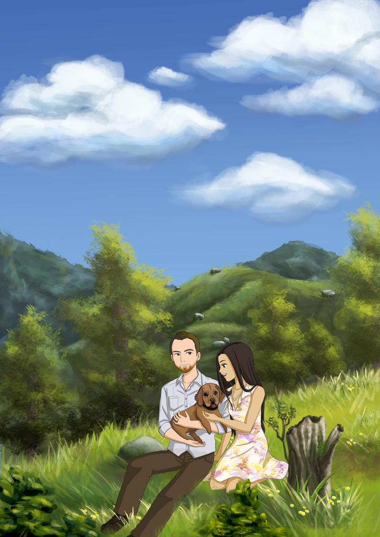 Ghibli Style Newly-Weds Illustration by choyuki