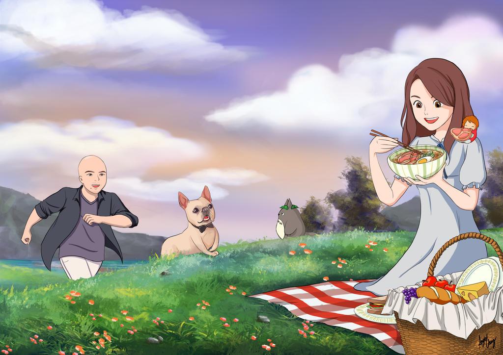 Ghibli inspired - Picnic at Twilight by choyuki