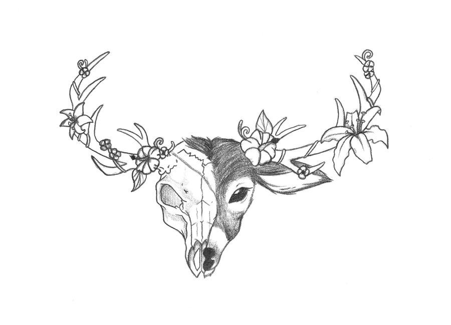 Deer Head Tattoo by RainbowMassacre90