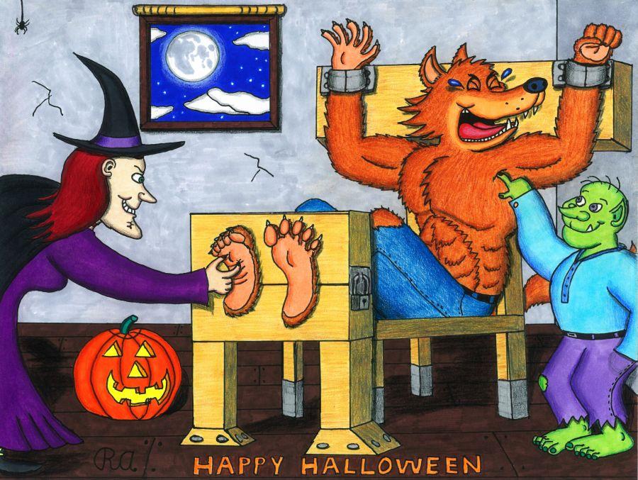 Ticklish Halloween Werewolf by WalterRingtail