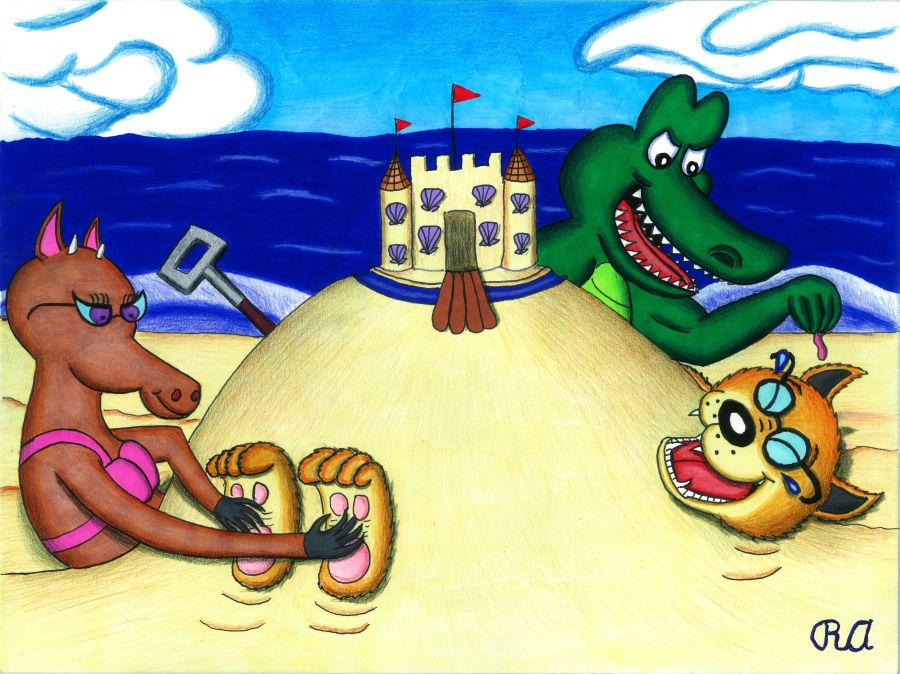 Ticklish Dingo Buried at the Beach by WalterRingtail