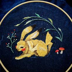 hand embroidery of realistic Pokemon Pikachu by ChunPhan