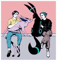 Chun and Blue/ Espeon and Umbreon