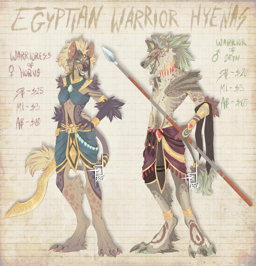 .:Adopts:. Egyptian Warrior Hyenas [CLOSED] by SpectraArts
