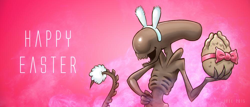 Alien EasterCardHappy Easter by JoseAlvesSilva