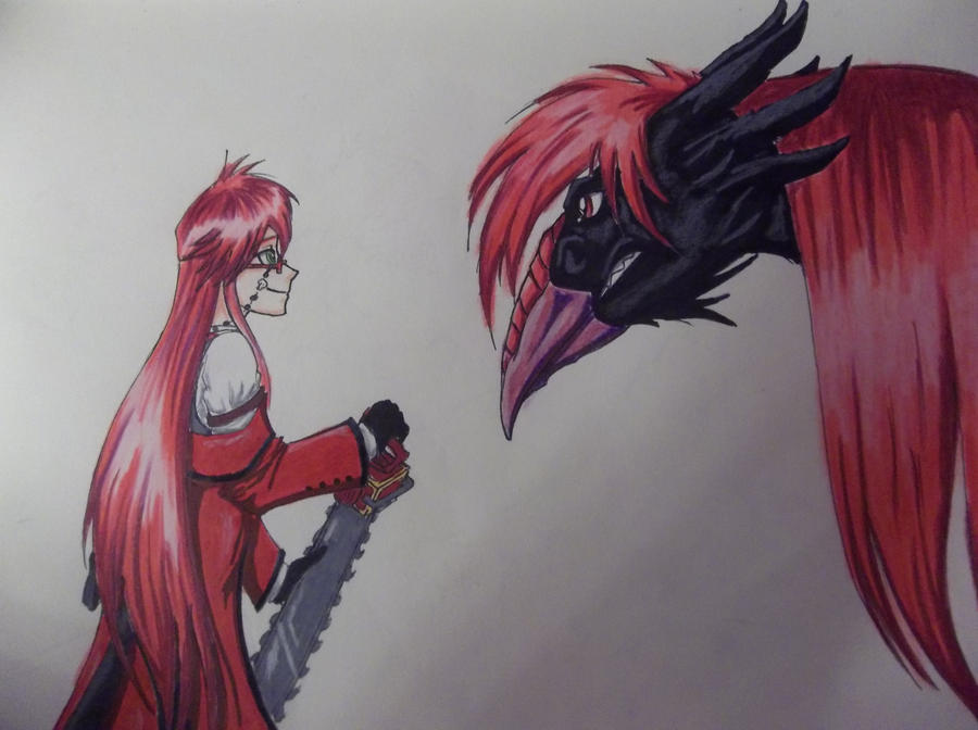 Grell confronts Sangre by cococream45