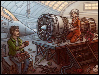 Lilith and Loki: Hangar by CyborgNecromancer