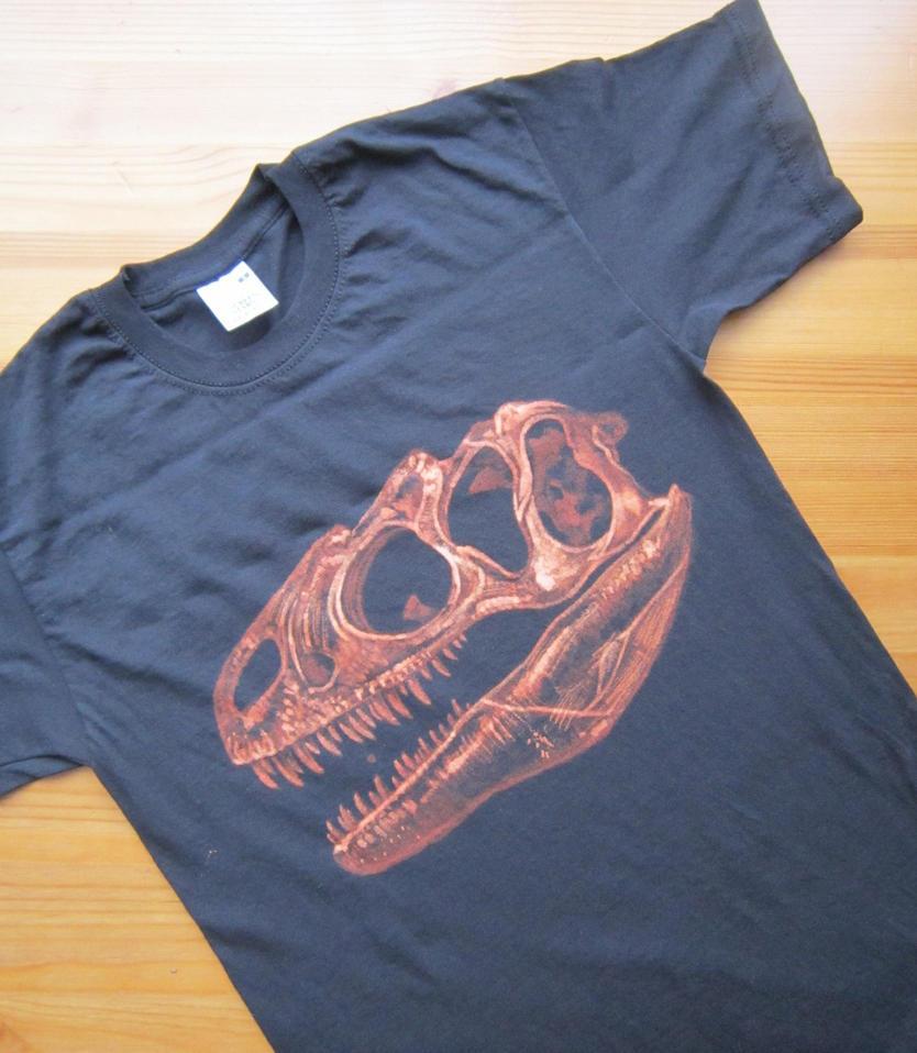 Shirt design using bleach - Allosaurus Skull Bleach Painted T Shirt By Saiyanhajime On Deviantart
